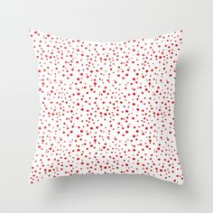 Christmas Red & White Polka Dots Pillow Cover Polkadot by PrtSkin