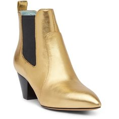 Marc Jacobs Kim Chelsea Boot ($220) ❤ liked on Polyvore featuring shoes, boots, ankle booties, gold, slip on boots, pull on boots, beatle boots, chelsea bootie and leather pointed toe boots