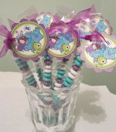Monsters Inc Party favor. Adrianna 2nd birthday is Monsters Inc!! She's going to love it!!! Yay!!