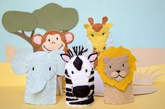 African Animals - Felt Finger Puppets (one set in stock)