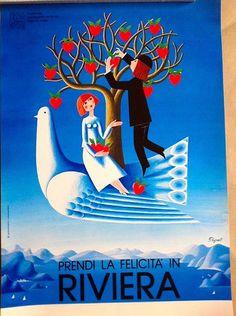 1985 La felicita in Riviera poster by Raymond Peynet Vintage Beach Posters, Vintage Italian Posters, Poster Vintage, Retro Poster, New Poster, Vintage Advertisements, Vintage Ads, Vintage Airline, Italy Tourism