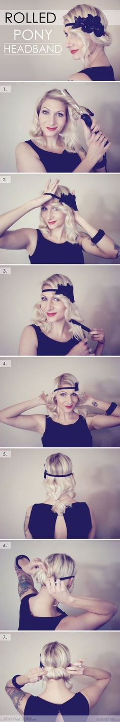 Rolled Ponytail Headband Hairstyle #Roaring20s #Gatsby