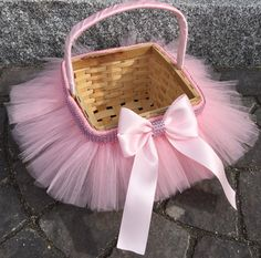 Princess Easter Tutu Basket Flower Girl Basket by MissMadelynsBows