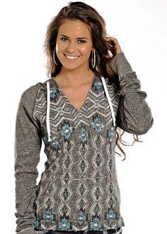 Rock & Roll Cowgirl Aztec Print Pullover Hoodie (Coming Soon): Sierra Western Wear