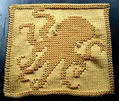 Dishcloth with squid design; pattern is in German.