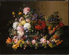 Still Life: fleurs et fruits - Severin Roesen ,  1850-1855