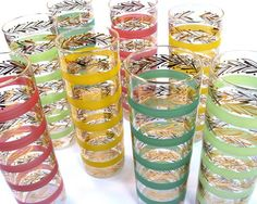 Mid Century Cocktail Glasses Multi Color / Set of by Retroburgh, $59.99