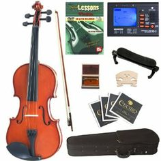 Cecilio CVN-100 Solid Wood Student Violin with Tuner and Lesson Book, Size 1/2