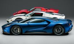 All three generations of the Ford GT, from 1965, 2005, and 2017, in red, white, and blue, respectively. (Photographs courtesy of Ford Motor Co.)