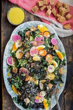 Crispy Roasted Kale Caesar Salad