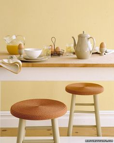 cover an old stool with fresh paint and some sisal rope on the seat...