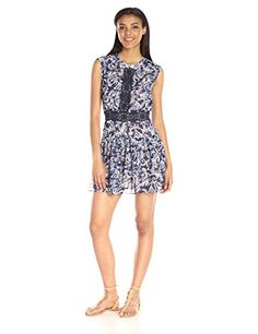 BCBGMax Azria Womens Amyeline Mixed Print Short Sleeve Dress Royal Blue Combo 10 * More info could be found at the image url.