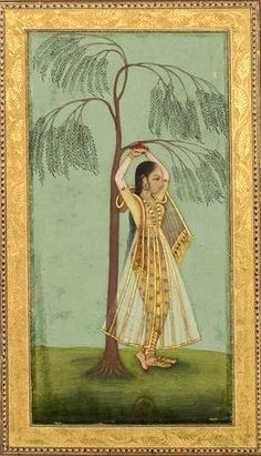 """Attributed to Hunhar II. Nayika holding on to a weeping willow. Album """"Persian drawings (miniature of . Kerala Mural Painting, India Painting, Silk Painting, Mughal Miniature Paintings, Mughal Paintings, Art Chakra, Indian Traditional Paintings, Southeast Asian Arts, Middle Eastern Art"""