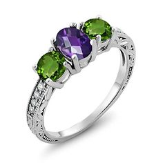 Artistic Spiritual and romantic Pisces love all things beautiful. In fact we love anything that will help us feel inspired and creative.  Typically jewelry, art, clothes and aroma therapy make the best Pisces gift ideas.  Due to the fact Pisces love sensual gifts that stimulate to the senses.    1.87 Ct Oval Checkerboard Purple Amethyst Green Chrome Diopside 925 Silver Ring (Available in size 5, 6, 7, 8, 9)