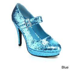Ellie Women's '421-Jane-G' Glittery Double Strap Mary Jane Heels
