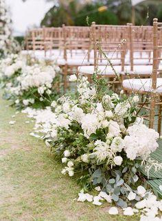 Eucalyptus and hydrangea wedding aisle flowers: http://www.stylemepretty.com/2017/04/13/classic-hong-kong-wedding/ Photography: Hilary Chan - http://www.hilarychanphotography.com/