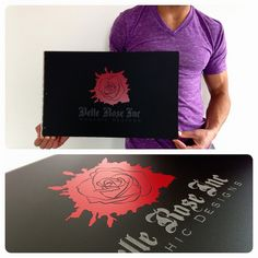 Custom graphic design portfolio book withe engraving and vinyl decal treatment in matte black acrylic