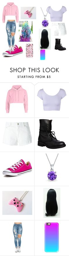 """Aphmau and Lizzie's Date outfits"" by lizzie12304 on Polyvore featuring beauty, Dondup, Steve Madden, Converse, Bling Jewelry, Casetify and Kate Spade"