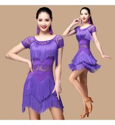 Purple violet red black fuchsia hot pink royal blue lace hollow waistline patchwork women's ladies female competition performance latin salsa samba cha cha dance dresses outfits