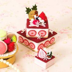 スクエアベリーケーキとマグネット(取り外し可能なピック付き)