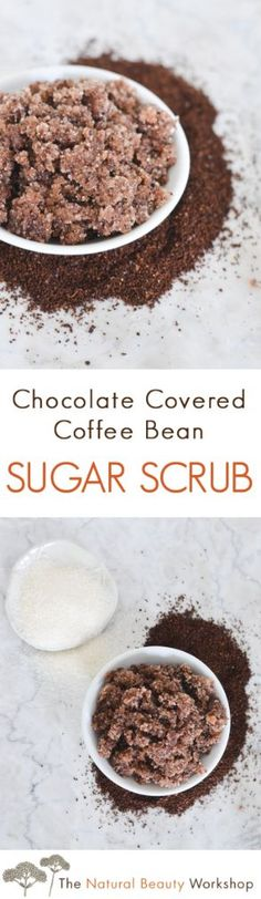 Make your own all-natural chocolate covered coffee bean scrub - naturally scented with roasted coffee and cocoa ingredients.