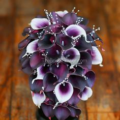 """""""Cascading Callas"""" real touch calla lilies bouquet in plum and Picasso purple with pearls This is THE calla lily bouquet to have at your wedding! Bold colors that don't overpower, but exude elegance and style from each flower. This classy, cascading wedding bouquet is made with an abundance of the signature wedding flower – calla lily – and mixed with pearls for the perfect combination! Few Picasso purple calla lilies with white edges stand out elegantly against the plum background and match…"""