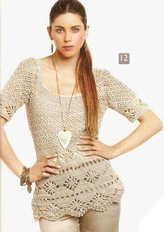 Patrón #1519: Blusa a Crochet ~ CTejidas [Crochet y Dos Agujas]