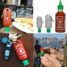 Sriracha 2 Go Keychain Bottle - Never worry about a sans-sriracha meal again. Simply fill your empty bottle with Huy Fong Sriracha to arm yourself with a stash of Sriracha for breakfast, lunch, dinner, and everything in between. Honey Dispenser, Chicken Swing, Arcade Buttons, Red Licorice, Whiskey Decanter, Wine Bottle Opener, Simply Filling, Eleven Stranger Things, Take My Money