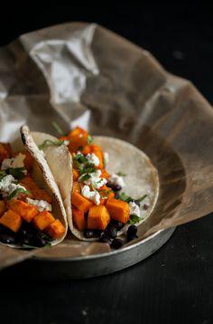 Sriracha Marinated Butternut Squash and Black Bean Tacos