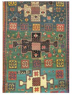 Detail of kazak rug circa 1