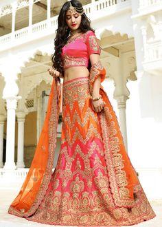 Orange and Pink Bridal Lehenga Choli with Dupatta