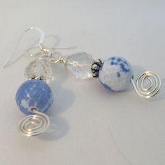 Blue Earrings Sterling Silver Earwires Fire Agate by adiencrafts