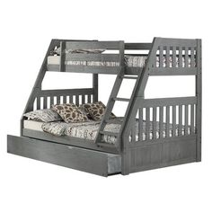 Brayden Studio Gautreau Twin Bunk Bed over Full XL Sofa Bed, Table and Trundle Twin Full Bunk Bed, Bunk Bed Sets, Bunk Bed With Trundle, Kids Bunk Beds, Twin Twin, Full Bed, Loft Beds, Bunk Beds With Drawers, Bunk Beds With Stairs
