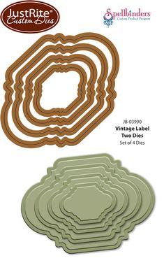 JustRite Papercraft  Spellbinders Co-Branded   Vintage Labels Two Dies JustRite Custom Dies  compatible with Live, Love, Laugh Vintage Labels Two Stamps
