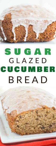 Sugar Glazed CUCUMBER Bread recipe that's delicious and moist inside. It tastes like zucchini bread, but it's made with 1 cup grated cucumber. This healthy dessert recipe is easy to make and is a great way to use up cucumbers. A optional sugar glaze is poured on top once baked! Healthy Dessert Recipes, Healthy Baking, Easy Desserts, Delicious Desserts, Breakfast Recipes, Awesome Desserts, Breakfast Dessert, Vegetable Recipes, Breakfast Ideas