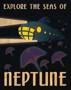 Parcourez le système solaire avec cette affiche rétro voyage planétaire de Neptune ! Affiche 11 « x 14 » de hauteur et est imprimée sur un poster brillant 80#.
