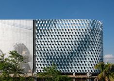 Miami parking garage wrapped in perforated screens.