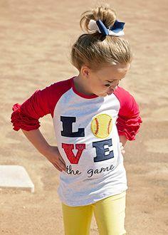 Softball shirt for the girls!!! The Hair Bow Company | LOVE the Game Softball Ruffled Raglan Shirt for Girls
