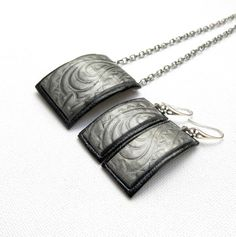 #Gray jewelry  #Handmade #jewelry  Pendant earrings  by insoujewelry