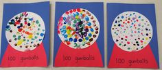 100th Day Gumball Craft. I do 5 colors and 20 prints of each color