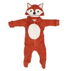 This sweet rusty baby fox costume with hat is made from the softest cotton blend, two-way stretch terry for your child's absolute comfort and includes all the features of the best baby rompers. The tail is only lightly stuffed to be comfortable to lay upon and the hat is lined, stretchy and really stays on. Your child's comfort always comes first, being dressed up this cute is the Lil Creatures touch.  Comes gift-boxed in the same style as others. Front & back flat lay and gift-box photos…