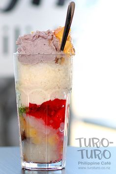 """HALO-HALO takes elements like jelly, sweet beans, fruit, condensed milk, coconut, caramel, and ubé (purple yam) and combines them in a glass with crushed ice for an amazing dessert or refreshment whose name literally means """"mix-mix."""" Mixed up with the spoon, the final result is unforgettable. #filipinofood #pinoyfood 