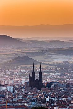 Clermont Ferrand and its gothic cathedral at sunrise - Auvergne, France