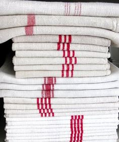 Simplicity of French red and white linens. Repinned by www.mygrowingtraditions.com