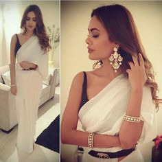 Esha Gupta wearing white Saree with black blouse at Diwali Party 2016
