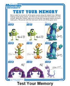 Monsters University Word Search Liams 1st B Day