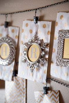 Use ornament frames to create a fun #Christmas banner. #justaddmichaels