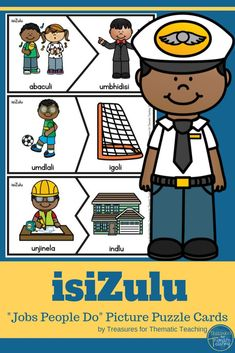 This resource is made up of 27 Puzzle card sets. Each set contains a person representing a job/career and an object, vehicle or place that is associated with that job /career. Cut out and laminate. Get the learners to match the cards correctly. Zulu Language, Improve Vocabulary, People Who Help Us, Sorting Games, Different Careers, Career Day, Picture Puzzles, Matching Cards, Classroom Activities
