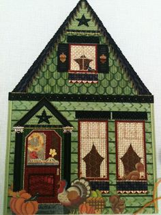 steph's stitching: She may be the one, needlepoint house