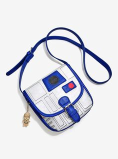 Loungefly x Star Wars R2-D2 metallic faux leather mini saddle bag with C-3PO charm at Box Lunch ⭐️ Star Wars fashion ⭐️ Geek Fashion ⭐️ Star Wars Style ⭐️ Geek Chic ⭐️
